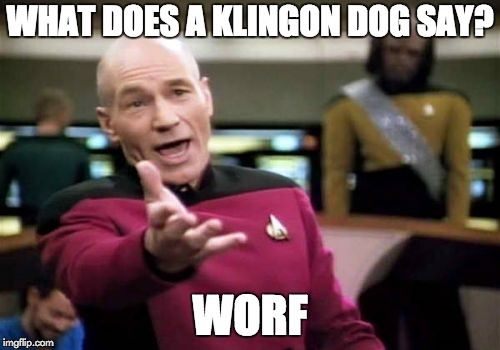 What does a Klingon dog say? Worf