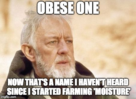 Obese One. Now that's a name I haven't heard since I started farming 'moisture'